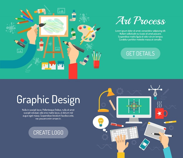 Creative process banners Free Vector