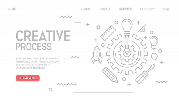 Creative process landing page in doodle style Premium Vector