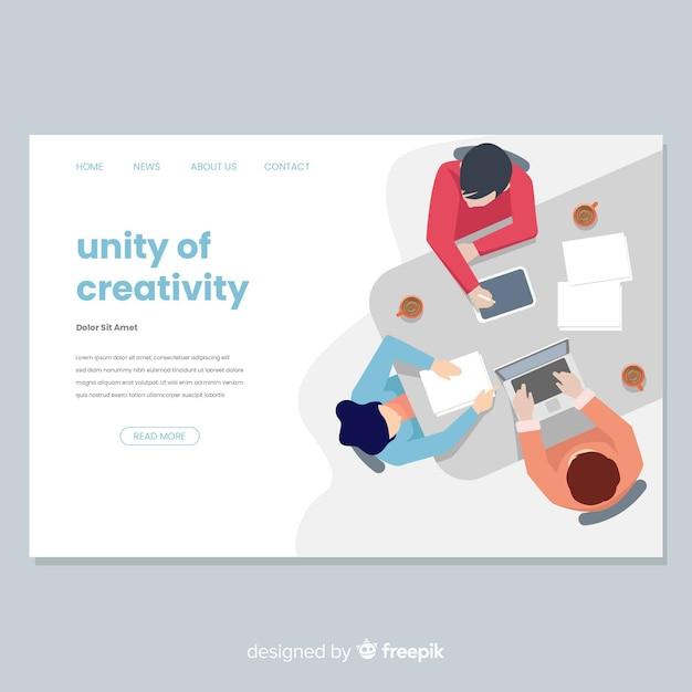 Целевая страница творческого процесса в плоском дизайне Бесплатные векторы