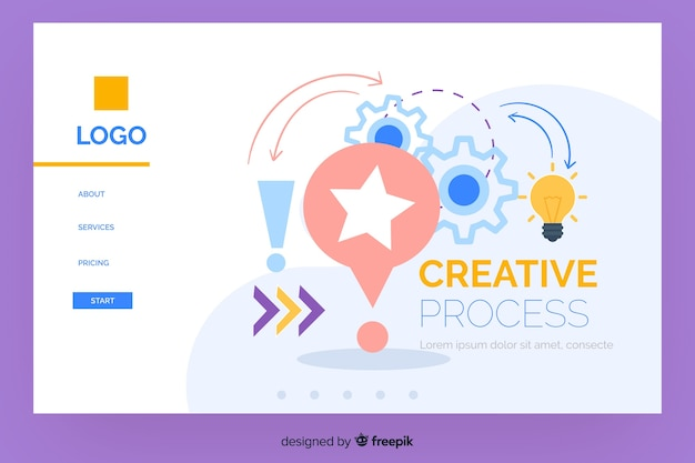 Creative process landing page template Free Vector