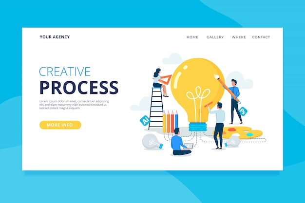 Шаблон целевой страницы творческого процесса Бесплатные векторы