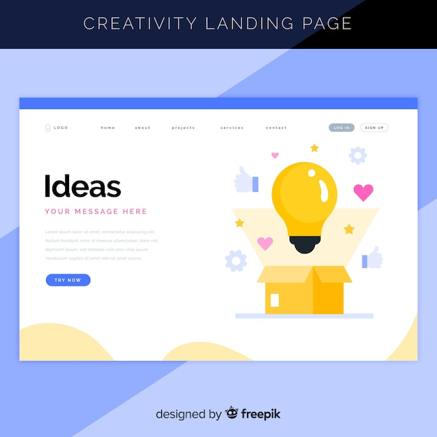 Creative process landing page Free Vector