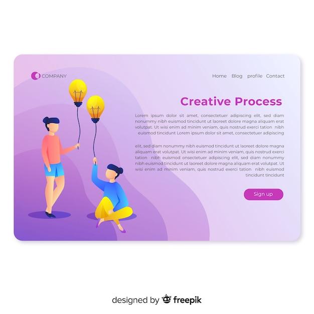 Creative process landing page Free Vector