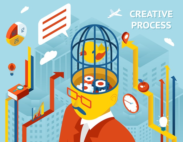 Creative process. thought and creation, thinking and invention and solution gears in human head. Free Vector