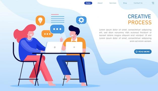 Creative process website landing page Premium Vector