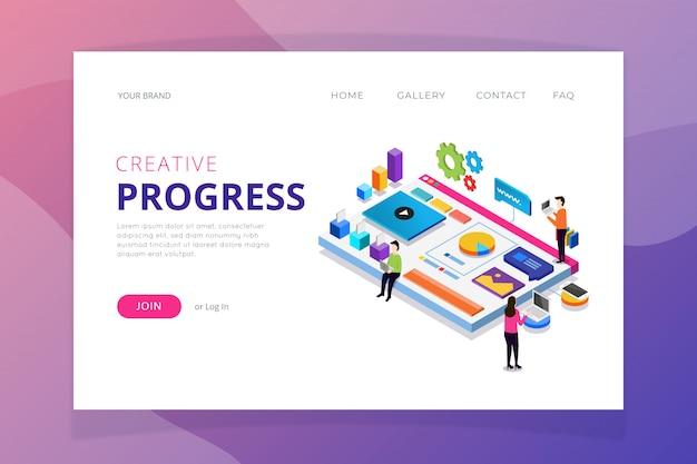 Creative progress landing page template Free Vector