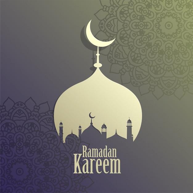 Creative ramadan kareem islamic mosque background Free Vector