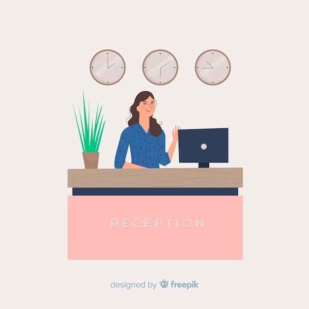 Creative reception concept in flat style Free Vector