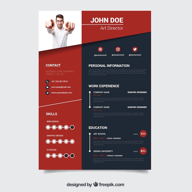 creative red and black resume template vector