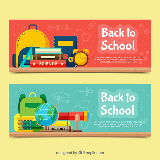 Creative red and blue back to school banners in flat design