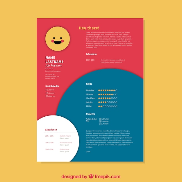 creative red and blue cv template
