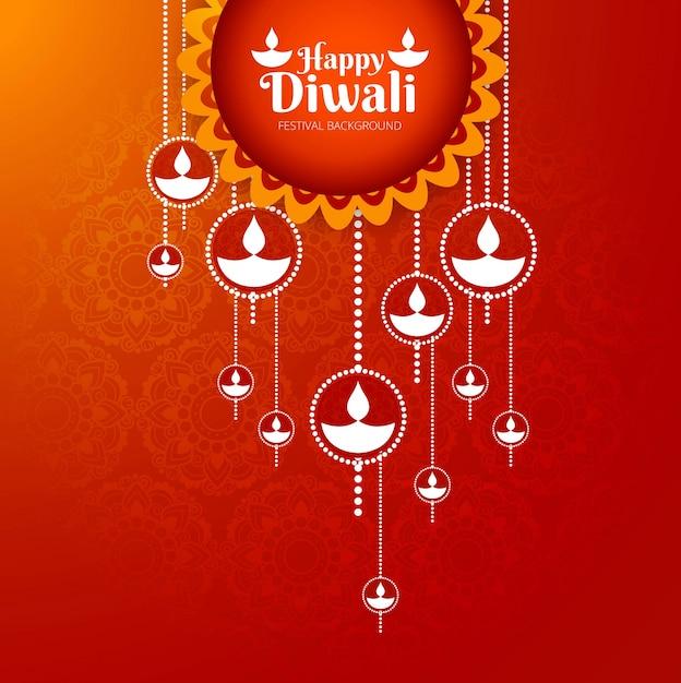 Creative Red Happy Diwali Design Vector Premium Download