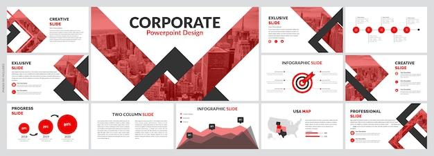 Креативные красные слайды шаблон Premium векторы