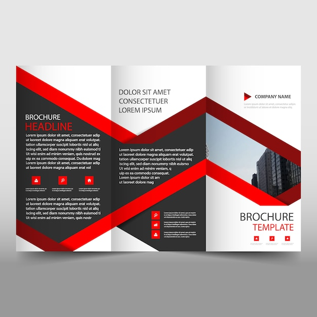 Creative red trifold business brochure template vector for Black brochure template