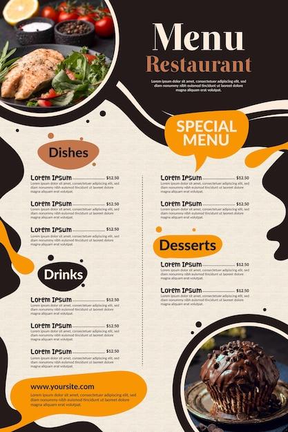 사진과 함께 디지털 사용을위한 창의적인 레스토랑 메뉴 무료 벡터
