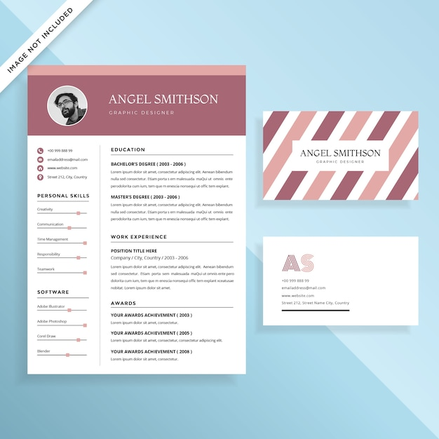 Creative Resume CV and Business Card Template Design Set Vector ...