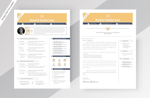 Creative resume cv template Premium Vector