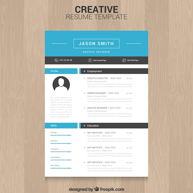 Creative resume template Free Vector