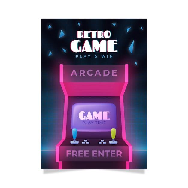 Креативный ретро игровой плакат Бесплатные векторы