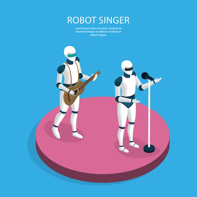 Creative robots band isometric Free Vector