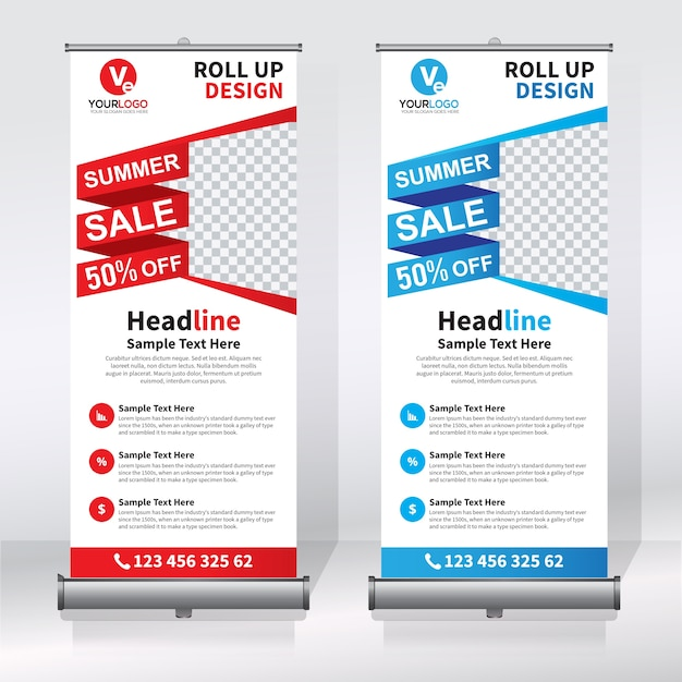 Creative roll up banner design template Vector | Premium Download