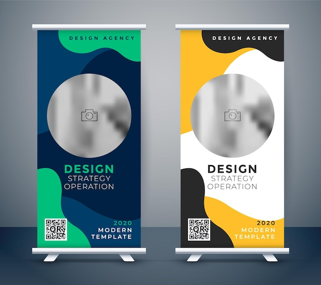 Creative roll up business banner design template Free Vector