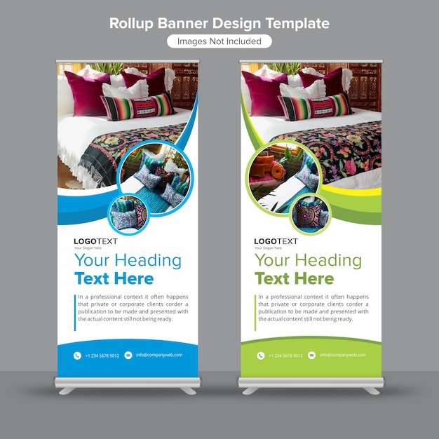 Creative roll up standee banner template Premium Vector