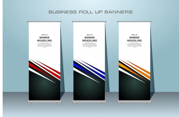 Creative rollup banner design in red, blue and orange color Premium Vector