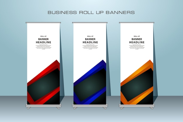 Creative rollup banner design in red, blue and orange color. Premium Vector
