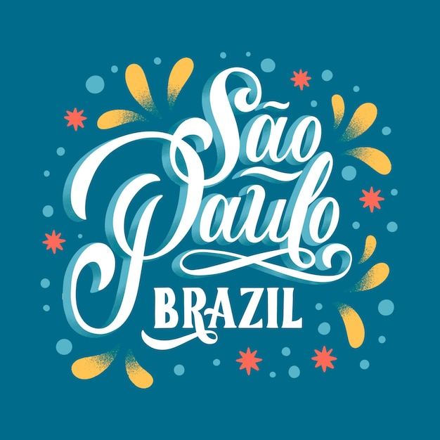 Creative sao paulo lettering with colored ornaments Free Vector