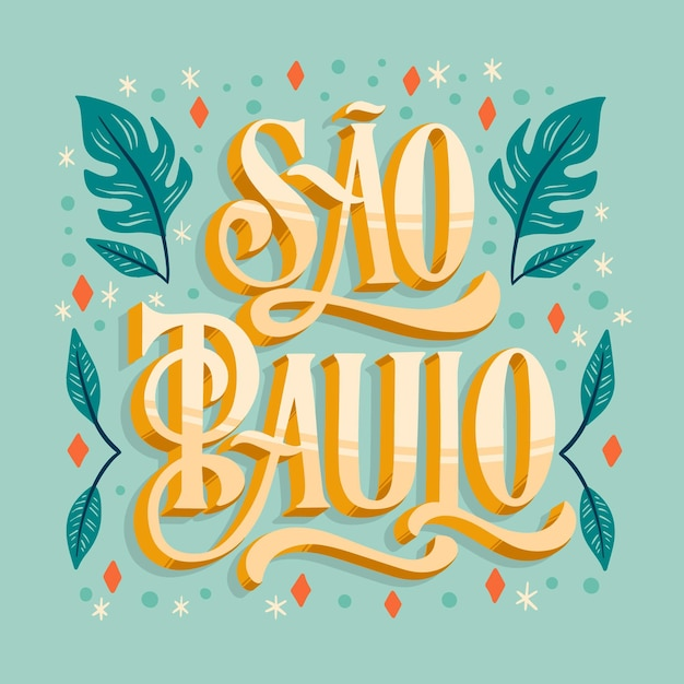 Creative sao paulo lettering with leaves Free Vector