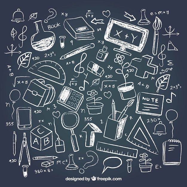 Creative school elements in chalkboard style Free Vector