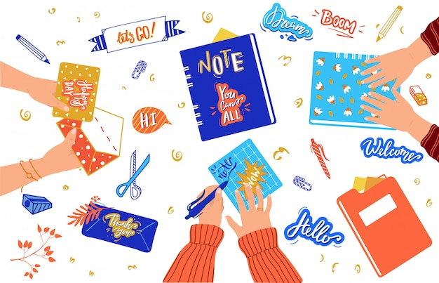 Creative scrapbooking hobby, handmade stickers and stationery, people hands,  illustration Premium Vector