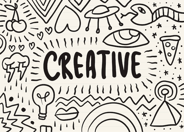 Creative scribbled on a notepad Free Vector