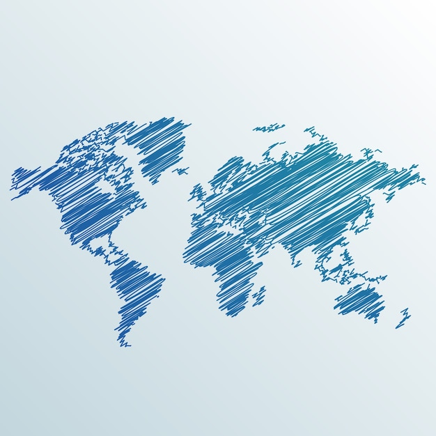 Creative scribbled world map Free Vector
