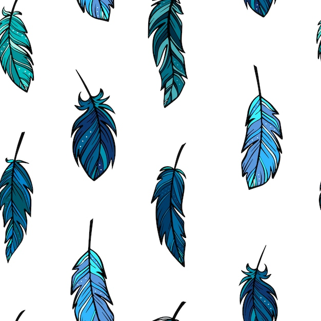 Creative seamless pattern from sketched feathers | Premium ...