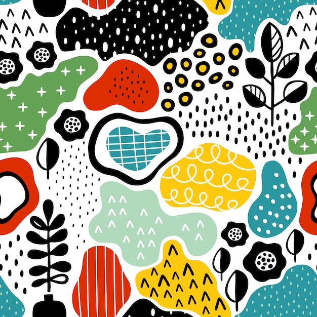 Creative seamless pattern with hand drawn textures Premium Vector