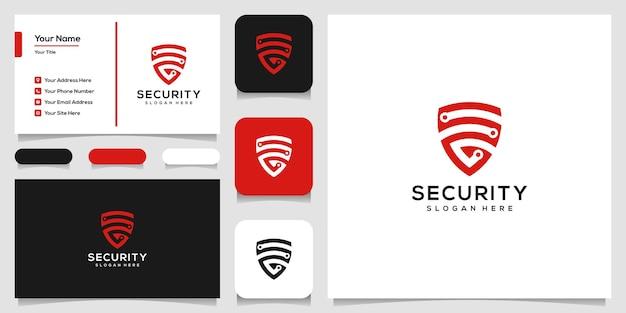 創造的な盾のロゴのデザインと名刺のテンプレート Premiumベクター