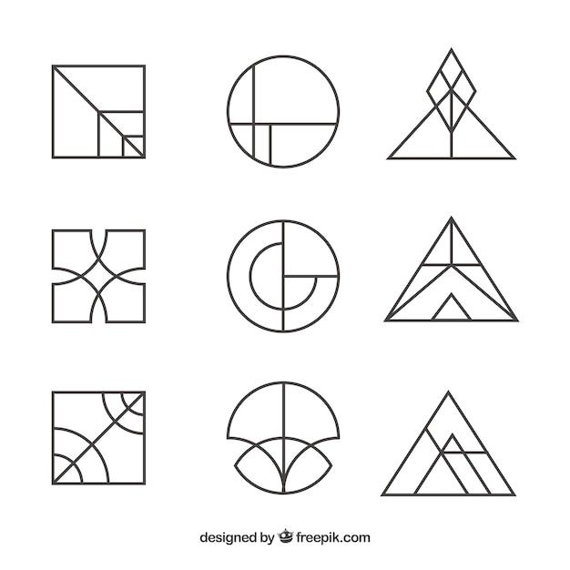 Creative simple monoline logo set