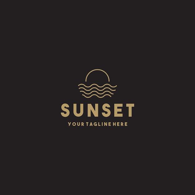 Creative simple sunset logo design Premium Vector