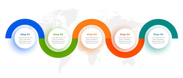 創造的な6つのステップ円形インフォグラフィックテンプレートデザイン 無料ベクター
