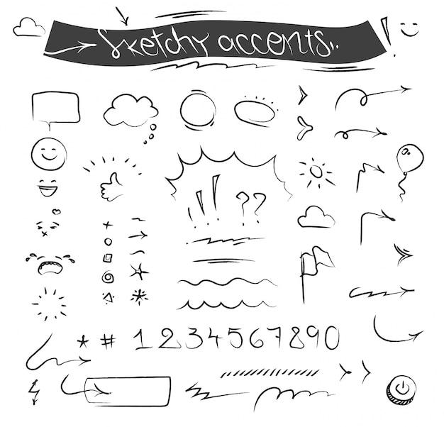Premium Vector Creative Sketchy Accents And Symbols Set