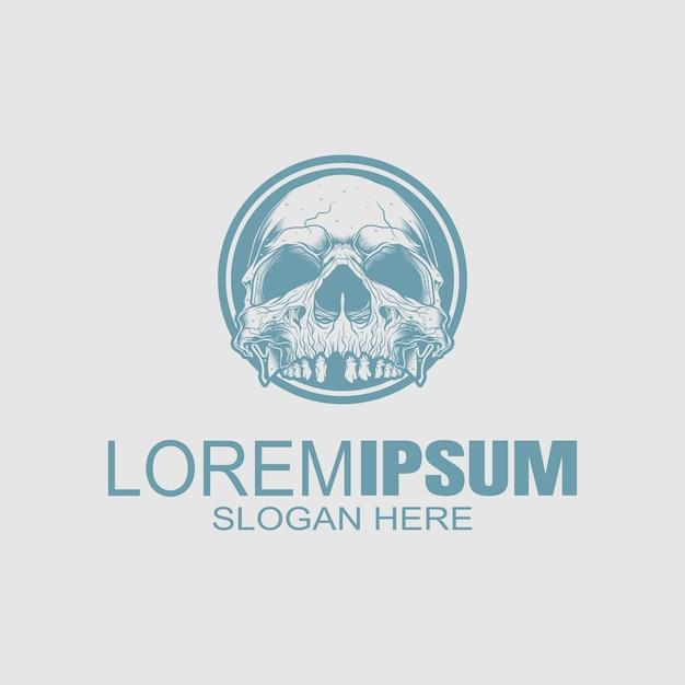 Логотип creative skull Premium векторы