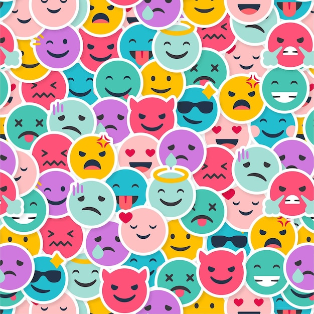 創造的な笑顔の絵文字パターン 無料ベクター