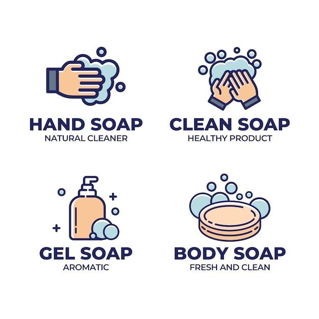 クリエイティブ石鹸ロゴテンプレートセット 無料ベクター