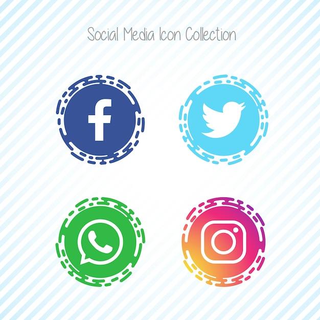 Creative social media icons facebook Free Vector