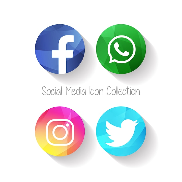 Creative social media icons facebook Premium Vector