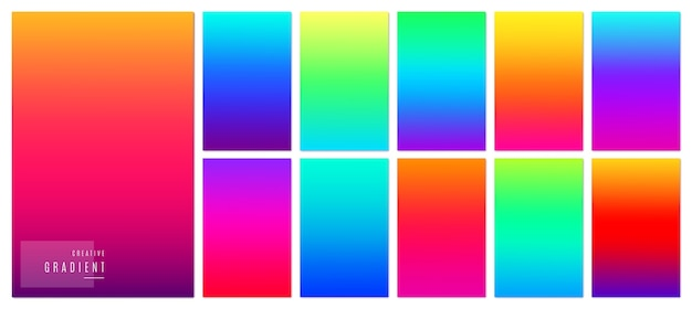 Creative soft gradient color design for mobile app. bright modern concept set. Free Vector