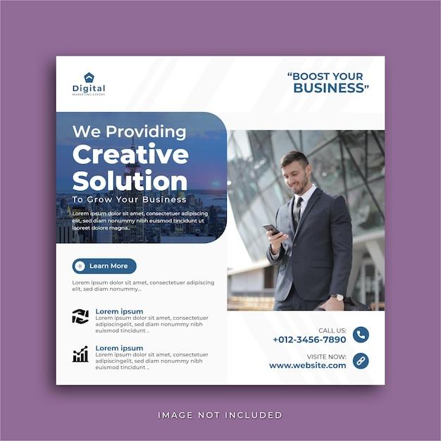 Креативное решение, агентство цифрового маркетинга и элегантный корпоративный бизнес-флаер, квадратный пост в социальных сетях instagram или шаблон веб-баннера Premium векторы