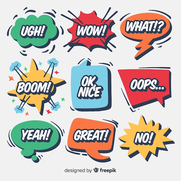 Creative speech balloons with different expressions Free Vector